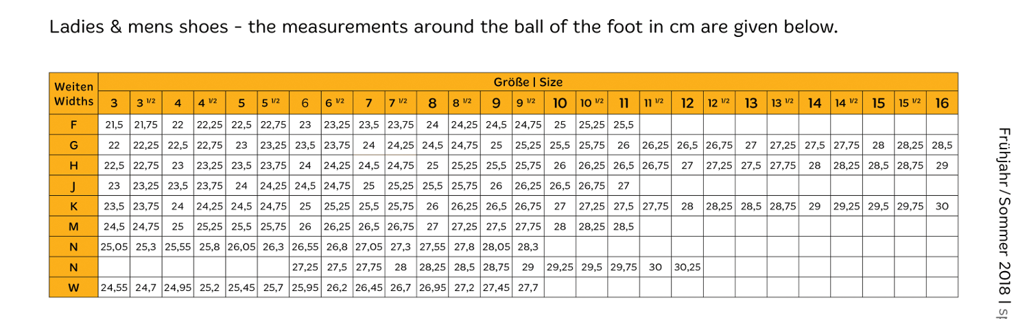 Solidus Shoe Measurement Chart