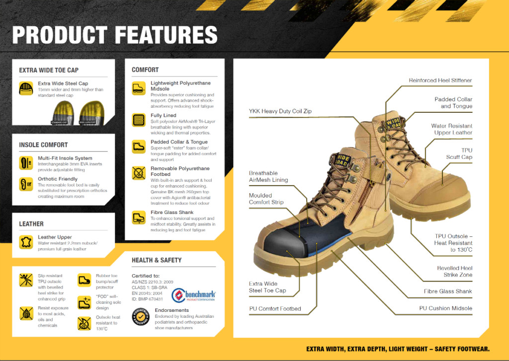 Wide load series 3 work boots - product features